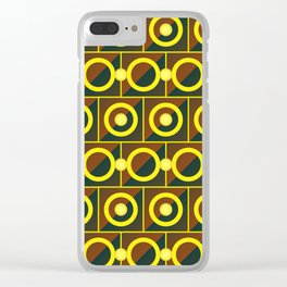 Tiled yellow circles Clear iPhone Case