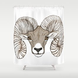 Ram Head in Color Shower Curtain