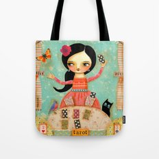 Tarot Card Reader mixed media painting by TASCHA Tote Bag