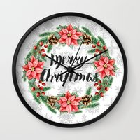 merry christmas Wall Clocks featuring Merry Christmas by Julia Badeeva