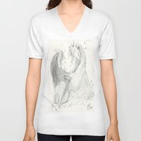 otters V-neck T-shirts featuring Playful Otters  by Jennifer Golla Art