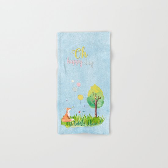 Fox- oh happy day on blue backround- Watercolor illustration Hand & Bath Towel