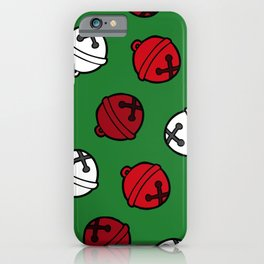 Jingle Bells Christmas Pattern in Red, White & Green iPhone Case