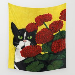 Cat Amongst The Geraniums 3 Wall Tapestry