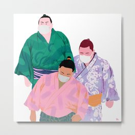 SUMO WRESTLERS IN MASKS 2 Metal Print