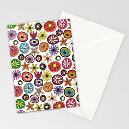 summer flowers multi white Stationery Cards
