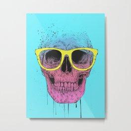 Pop art skull with glasses Metal Print