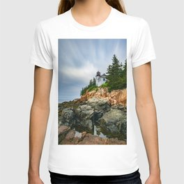 Bass Harbor Lighthouse Color Long Exposure Print T-shirt