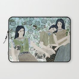 Girls With Pugs Among Roses Laptop Sleeve