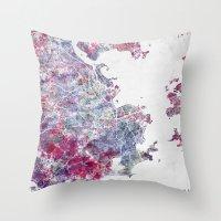 rio de janeiro Throw Pillows featuring Rio de Janeiro map by MapMapMaps.Watercolors