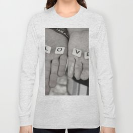 Love- a couple holding tiles spelling Long Sleeve T-shirt