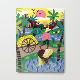 Ricefields Cambodia Metal Print