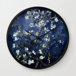 Vincent Van Gogh Almond Blossoms Dark Blue Wall Clock