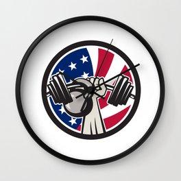 American Hand Barbell Kettlebell USA Flag Wall Clock