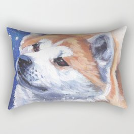 Akita inu Fine Art Dog Painting by L.A.Shepard Rectangular Pillow