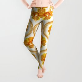 Ivory, Orange, Yellow and Brown Floral Retro Vintage Pattern Leggings