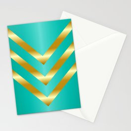 Gold strips on royal green gradient Stationery Cards
