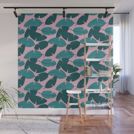 Palm leave boho summer pop ibiza party teal pink Wall Mural