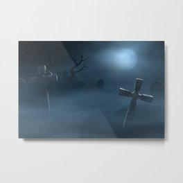 I - Tombstones on a spooky misty graveyard, full moon at night Metal Print