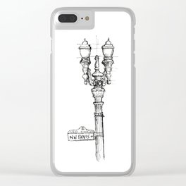 Portland Lamp Post Sketch Clear iPhone Case