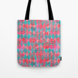 Argyle Pattern with pink abstract flowers Tote Bag