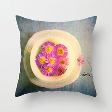 Spring Flowers on Vintage Table Throw Pillow