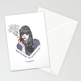 """Beauty you're born with, but brains you earn"" Quote Print - Nevernight Stationery Cards"