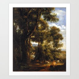 John Constable Landscape with Goatherd and Goats Art Print