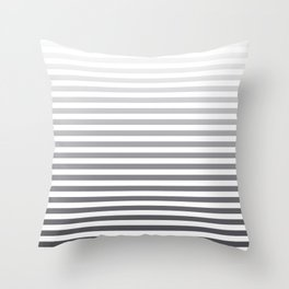 Gray and White Ombre Stripes Throw Pillow