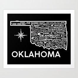 Oklahoma Map  Art Print