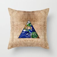 all seeing eye Throw Pillows featuring All Seeing Eye by Spooky Dooky