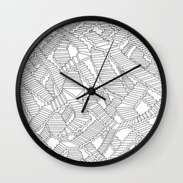 Stairs Surface City Pattern Doodle style for Home&Living and Accessories Wall Clock