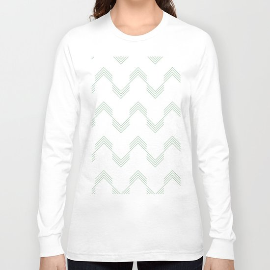 Deconstructed Chevron in Pastel Cactus Green on White Long Sleeve T-shirt