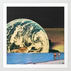 Distant beach Art Print