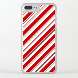 winter holiday xmas red white striped peppermint candy cane Clear iPhone Case