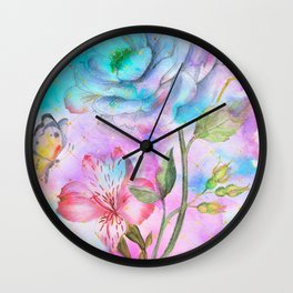 floral alcohol ink painting Wall Clock
