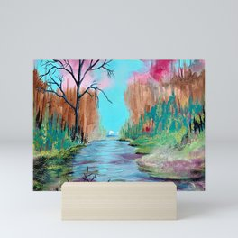 River in the Magical Forest Mini Art Print