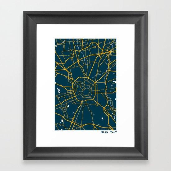 Milan Italy Map Framed Art Print