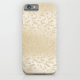 Luxury ivory glam gold glitter gradient floral iPhone Case