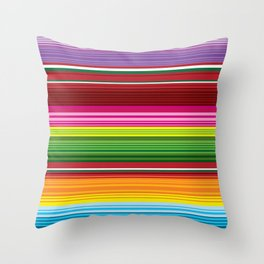 Mexican Blanket - Rainbow Striped Throw Pillow
