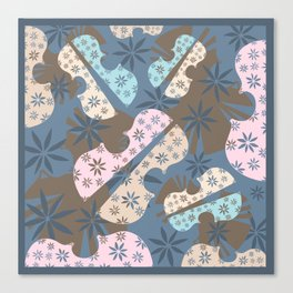 Flower Cello Violin Viola Pattern in blues and pinks Canvas Print