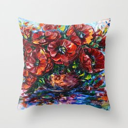 Red Poppies In A Vase Painting with Palette Knife Throw Pillow