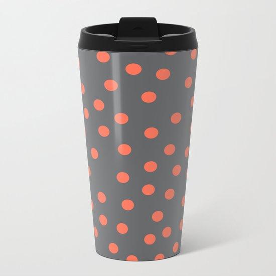 Simply Dots Deep Coral on Storm Gray Metal Travel Mug