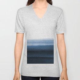Navy Blue Watercolor Ombre Unisex V-Neck