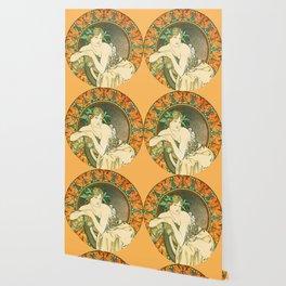 "Alphonse Mucha ""Woman with Poppies"" Wallpaper"