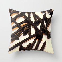Black Screws Throw Pillow