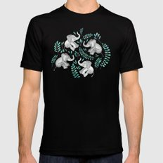 Laughing Baby Elephants – emerald and turquoise Mens Fitted Tee MEDIUM Black