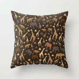 Safari Giraffe, elephants and cheetah pattern  Throw Pillow