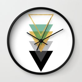 FIVE GEOMETRIC ABSTRACT HOLLOW PYRAMIDS TRIANGLE Wall Clock