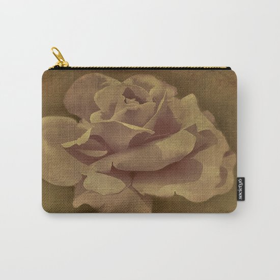Painterly Vintage Antique Rose Carry-All Pouch